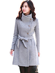 Chaoliu Autumn Sinter Korean Style Womens Thick Woolen Coat In Pure Color