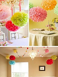 10 PCS  6 Inch Tissue Paper  Crafts Pom Poms Flower Party Decoration (Assorted Color)
