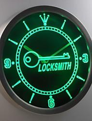 fabbro nc0316 chiave proprietario del negozio di regalo insegna al neon ha condotto l'orologio da parete