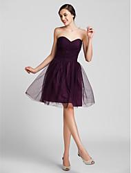 Knee-length Tulle Bridesmaid Dress Plus Sizes Sheath/Column Sweetheart