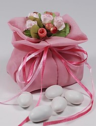 10PCS Double Layer Light Pink Chiffon Wedding Favor Bags Drawstring Pouch with Handmade Flower for Luxury Party