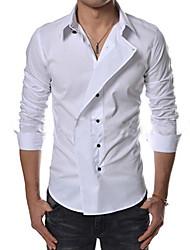 WANT Men's Long Sleeve Slim Lapel Neck Pure Color Shirts