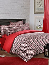 H&C ®  Thicken Cotton Sanded Fabric Duvet Cover Set  4 Pieces Checker Pattern  Red Black White Multi-Color