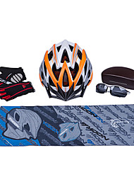 MOON New Gray+Orange Cycling Gift Box Set Including 21 Vents Helmet Carbon Fiber Glasses Short Finger Gloves and Scarf