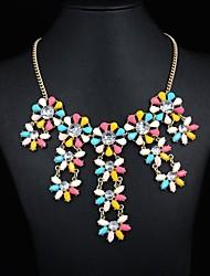 Women's Multi Color Flower Gem Necklace