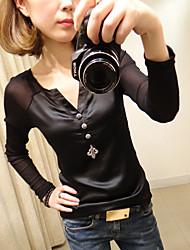 v cuello de empalme de malla blusa de las mujeres