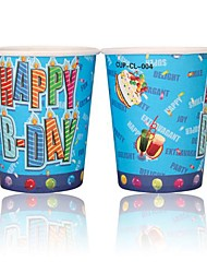 Coway 50PCS Happy Birthday to Blue Design Theme Party Disposable Paper Cup Cartoon Environmental Protection