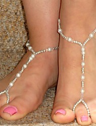 Women's All Handmade Pearl Beads Stretch Anklet