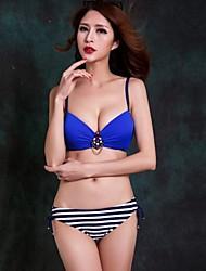 Women's Halter Bikinis , Geometric Push-up/Strapped/Padded Bras/Underwire Bra Nylon/Spandex Pink/Blue/Green
