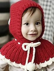skymoto®girl Stricken mit Bogen Pom-Pom Wolle Rotkäppchen Mantel Hut