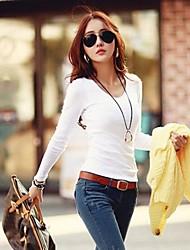 Damen T-Shirt Baumwolle Langarm V-Ausschnitt