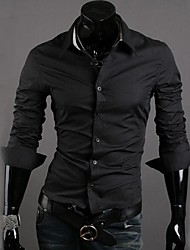 Men's Contrast Color Casual Long Sleeve Shirt