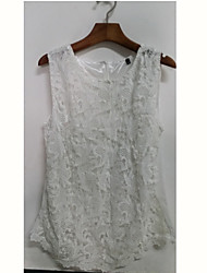 Blues Women's Round Neck Lace Sleeveless Blouse