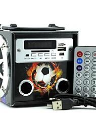 megafeis portatile in legno mini speaker radio fm doppia alimentazione (nero) per iPhone 6 e altri telefoni / pc