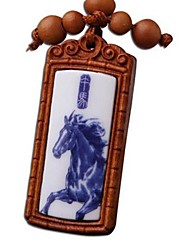 Duo Ji Mi ®Zodiac Horses Rosewood Key Chain Of Blue And White Porcelain