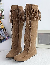 Women's Shoes Round Toe Flat Heel Flocking Knee High Boots with Tassel More Colors available