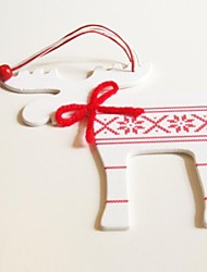 Christmas Hanging Decoratives White Deer Shape 1 PC MDF Materiels for Christmas Decorations