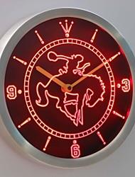 nc0360 Western-Cowboy-Rodeo Horse Bar Leuchtreklame LED-Wand Uhr