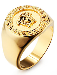 Famous 18K Gold Plated Stainless Steel Men's Ring Jewelry