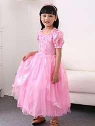 Girl's Square Lace Pink Fairy Style Bow Princess Dress
