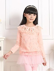 Girl's Fashion Sweet Lace Pure Cotton Long Sleeve Shirt
