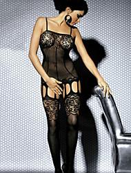 Для женщин Кружевное белье Ночное белье Однотонный Кружева Спандекс Черный
