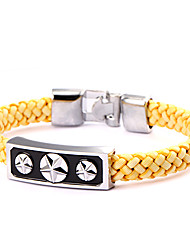 Punk Style Three Five-piont Stars Yellow Leather Bracelet(1 Pc)