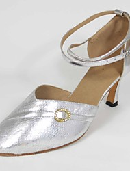 Customizable Women's Dance Shoes Standard Shoes Leatherette Customized Heel Silver
