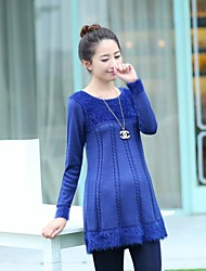 Maternity Round Collar Long-wool Sweater