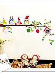 ZOOYOO® fashion cute owls and bird house on tree wall sticker home decor wall stickers for kids/living room