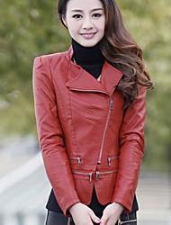 женская корейский стиль тонкий PU кожаное пальто