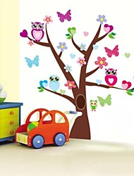 ZOOYOO®beautiful colorful owls scroll tree and butterflies wall sticker home decor wall stickers for kids/living room