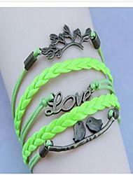 Vintage Knit Love Bird 24cm Leather Wrap Bracelet(White,Black,Green,Purple)(1 Pc)