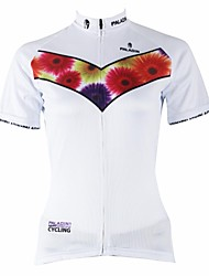 ILPALADINO Cycling Jersey Women's Short Sleeve Bike Breathable Quick Dry Ultraviolet Resistant Jersey Tops 100% PolyesterFloral /