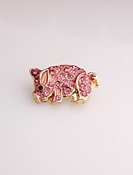 Fashion Pink Pig Gold Plated Brooch for Women In Jewelry