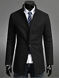 INMUR Men's Collar Single-Breasted Long Windbreaker