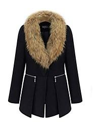 abrigo de lana con cremallera empalme ocasional piel de imitación de las mujeres