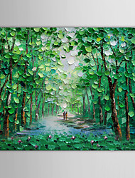 IARTS®Oil Painting Landscape Walking Along a Wooded Path with Stretched Frame Hand-Painted Canvas
