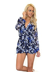 Women's Sexy V-Neck Floral Print Ruffles Long Sleeves Short Jumpsuit