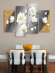 Stretched Canvas Art Beautiful Flowers Decorative Set of 4