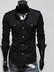 Men's Long Sleeve Shirt , Cotton Blend Work/Formal Pure