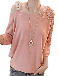 Women's Lace One Shoulder Knitting Cut Out Leisure Shirt