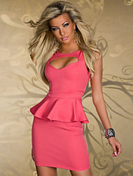 Girls Night Women's Color Block Pink / Black Dresses , Sexy / Casual / Party Mid Rise Sleeveless