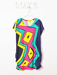 Women's  New Summer  Irregular Hem Was Thin Short-Sleeved Dress  (Clipping Random)