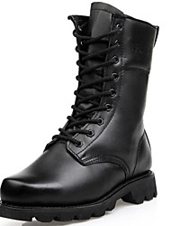 Men's Shoes Cap-toe Low Heel Leather Mid-Calf Boots with Lace-Up