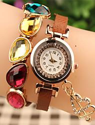 elegante strass de Abby mulheres&pu pulseira de relógio