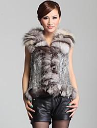 autentico maglia della pelliccia del coniglio maglia delle donne con il collare della pelliccia di volpe