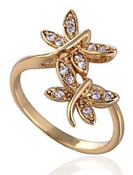 Women's Fashion Two Butterflies Design 18K Gold Zircon Ring