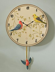 "HAOXINYI® 18""H Handicraft Modern Garden Resin Happy Birds Wall Clock"