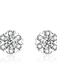 Boucles d'oreille goujon Argent sterling Imitation de diamant Forme de Coeur Écran couleur Bijoux 2pcs